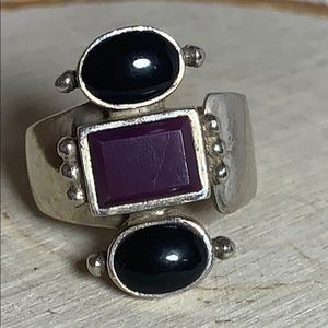 Purple and Black Stone Ring